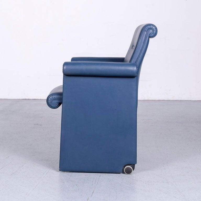 Poltrona Frau Forum Bridge Designer Leather Armchair Blue One-Seat 4