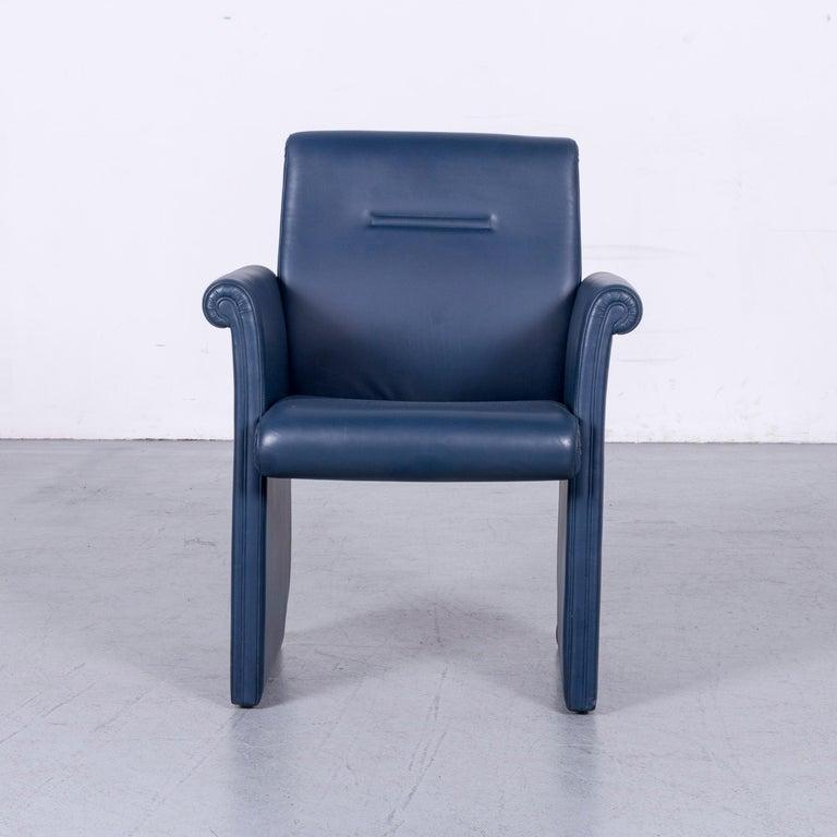 We bring to you an Poltrona Frau Forum Bridge designer leather armchair blue one-seat.