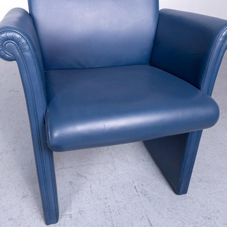 Chesterfield Poltrona Frau Forum Bridge Designer Leather Armchair Blue One-Seat