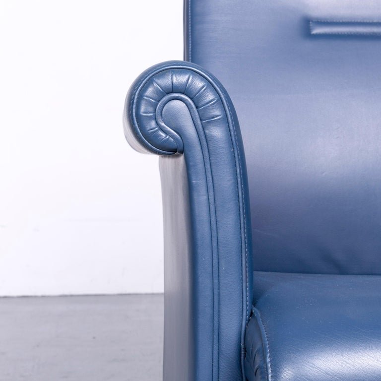 Italian Poltrona Frau Forum Bridge Designer Leather Armchair Blue One-Seat