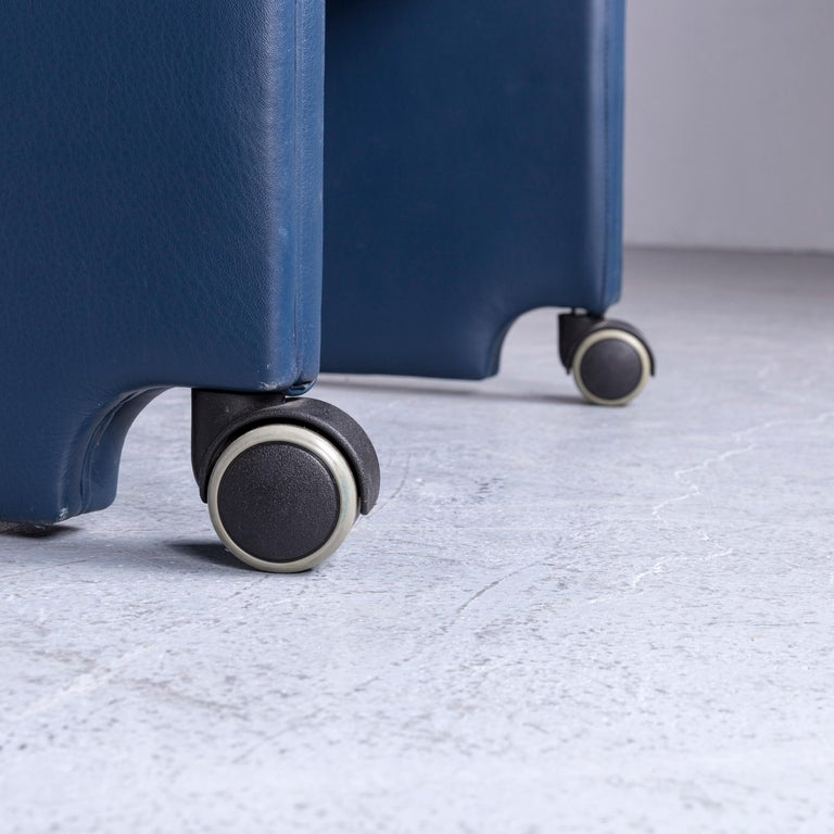20th Century Poltrona Frau Forum Bridge Designer Leather Armchair Blue One-Seat