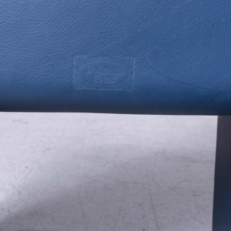 Poltrona Frau Forum Bridge Designer Leather Armchair Blue One-Seat 1