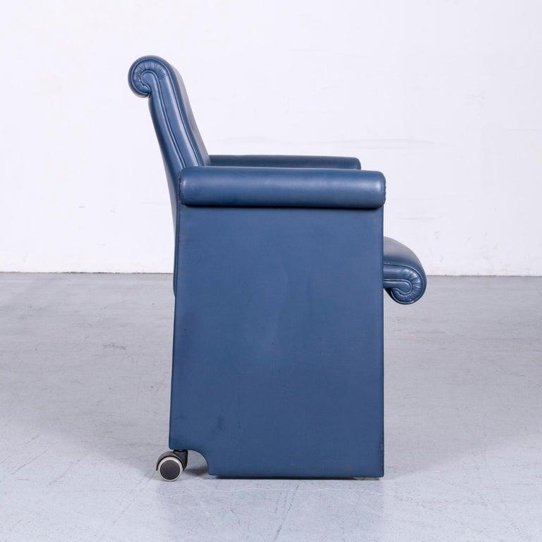 Poltrona Frau Forum Bridge Designer Leather Armchair Blue One-Seat 2