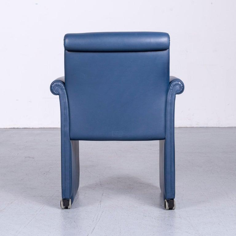 Poltrona Frau Forum Bridge Designer Leather Armchair Blue One-Seat 3