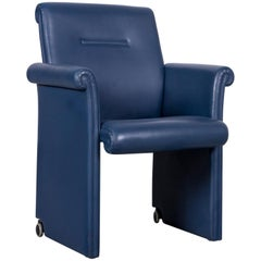 Poltrona Frau Forum Bridge Designer Leather Armchair Blue One-Seat