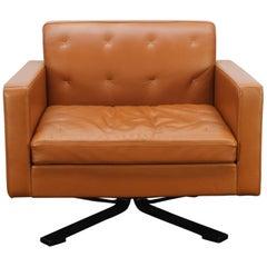 "Poltrona Frau ""Kennedee"" Swivel Armchair in Tan Brown ""Pelle Frau"" Leather"