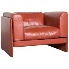 Poltrona Frau Le Chapanelle Designer Leather Armchair Orange by Tito Agnoli