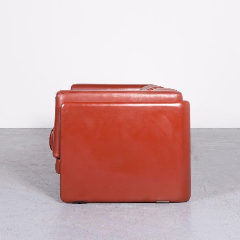 Poltrona Frau Le Chapanelle Designer Leather Sofa Orange by Tito Agnoli 5