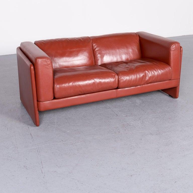 Italian Poltrona Frau Le Chapanelle Designer Leather Sofa Orange by Tito Agnoli