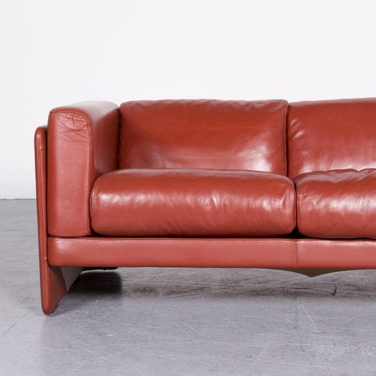 Poltrona Frau Le Chapanelle Designer Leather Sofa Orange by Tito Agnoli In Good Condition In Cologne, DE