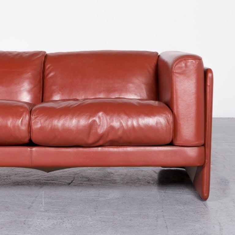 Contemporary Poltrona Frau Le Chapanelle Designer Leather Sofa Orange by Tito Agnoli