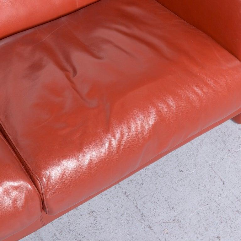 Poltrona Frau Le Chapanelle Designer Leather Sofa Orange by Tito Agnoli 1