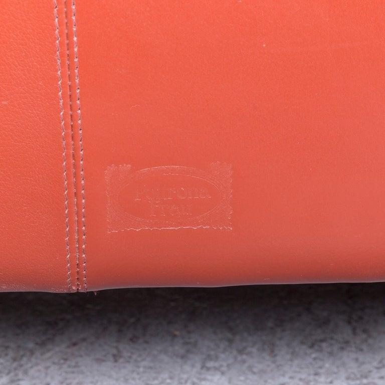 Poltrona Frau Le Chapanelle Designer Leather Sofa Orange by Tito Agnoli 2