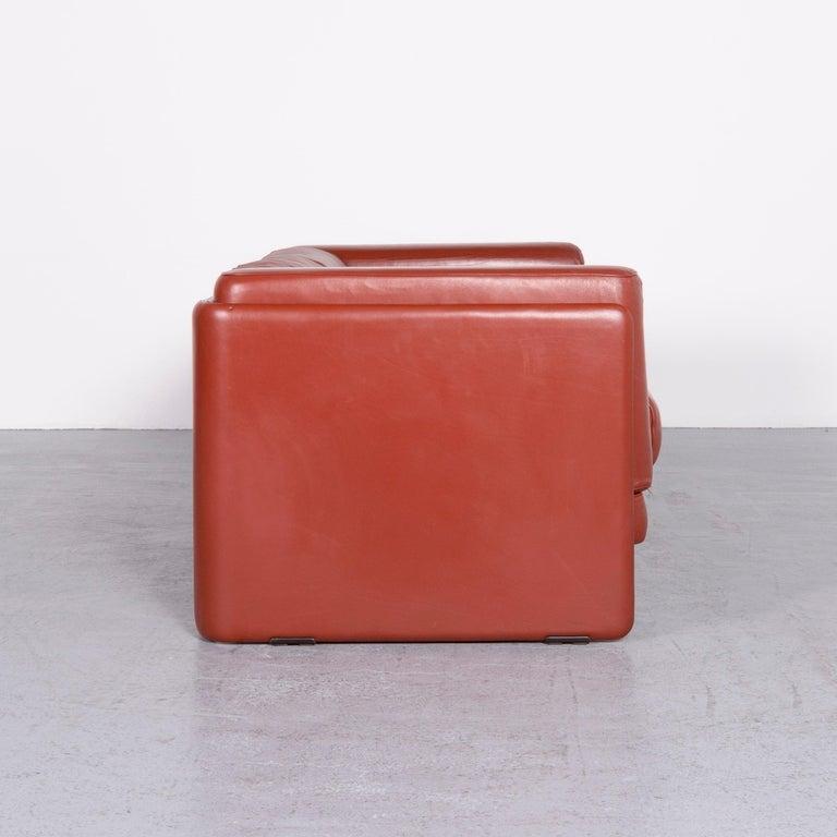 Poltrona Frau Le Chapanelle Designer Leather Sofa Orange by Tito Agnoli 3