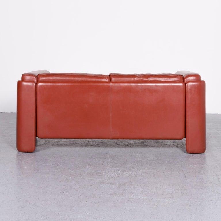 Poltrona Frau Le Chapanelle Designer Leather Sofa Orange by Tito Agnoli 4