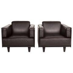 Poltrona Frau Leather Armchair Set Brown Dark Brown 2 Armchair