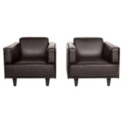 Poltrona Frau Leather Armchair Set Brown Dark Brown 2x Armchairs