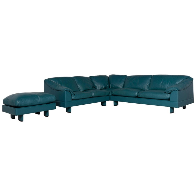 Poltrona Frau Leather Corner Sofa Petrol Blue Sofa Couch