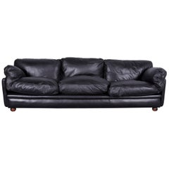 Poltrona Frau Leather Sofa Black Genuine Leather Three-Seat Couch