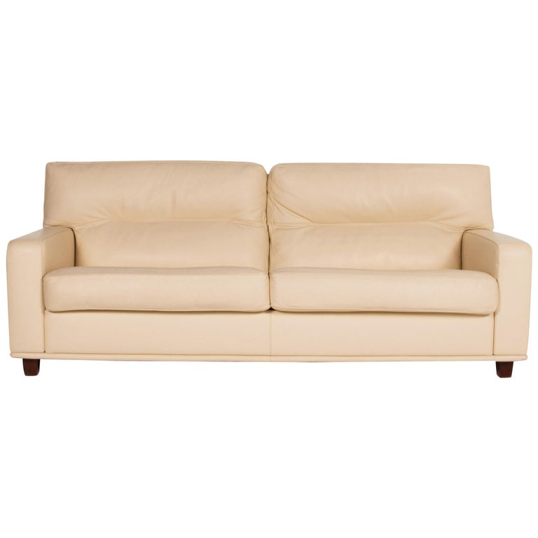 Poltrona Frau Leather Sofa Cream Two-Seat Couch For Sale