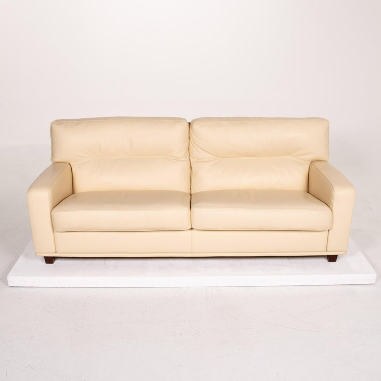 Poltrona Frau Leather Sofa Cream Two-Seat Couch For Sale 4