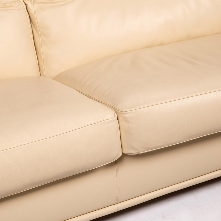 Modern Poltrona Frau Leather Sofa Cream Two-Seat Couch For Sale