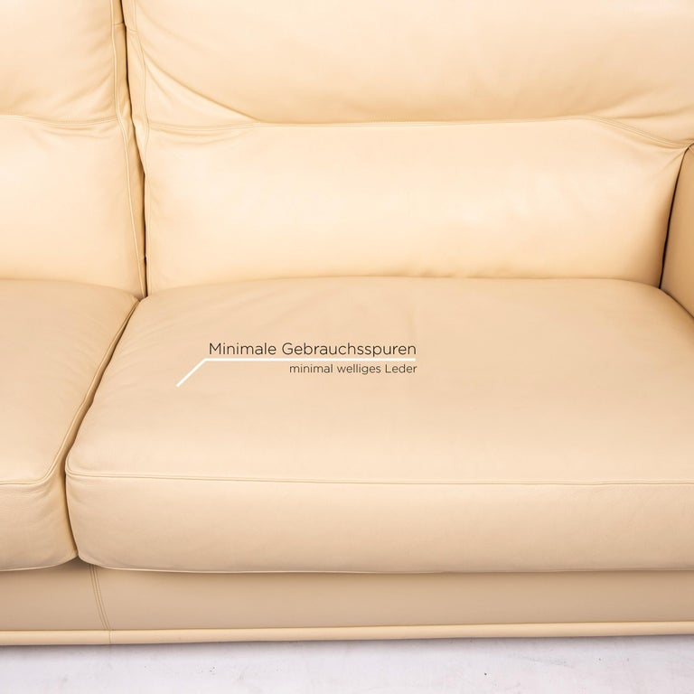 Italian Poltrona Frau Leather Sofa Cream Two-Seat Couch For Sale