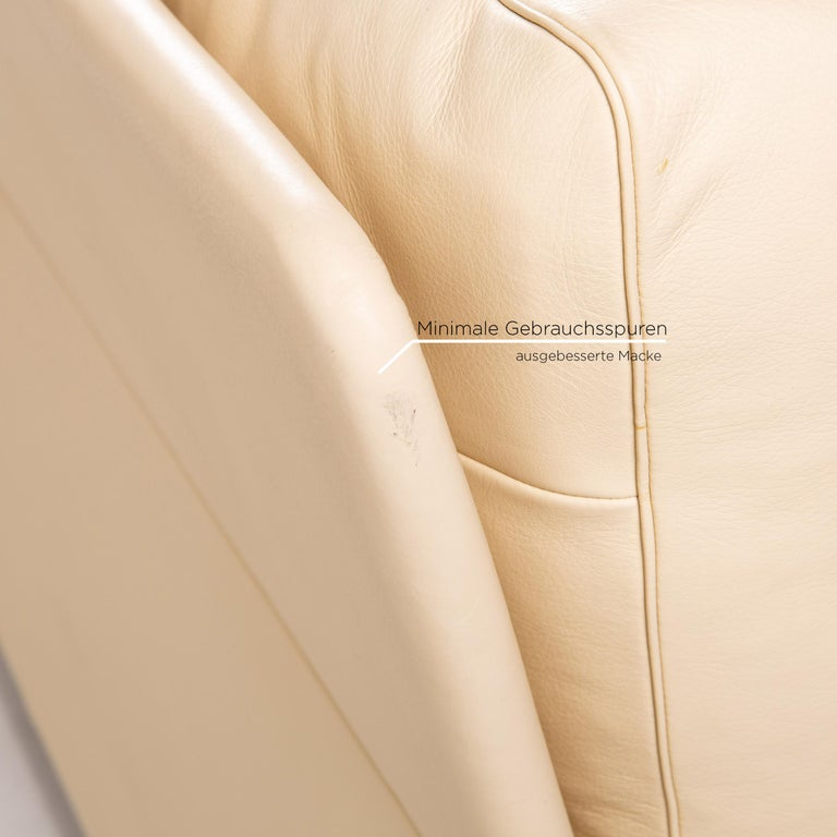 Poltrona Frau Leather Sofa Cream Two-Seat Couch For Sale 1