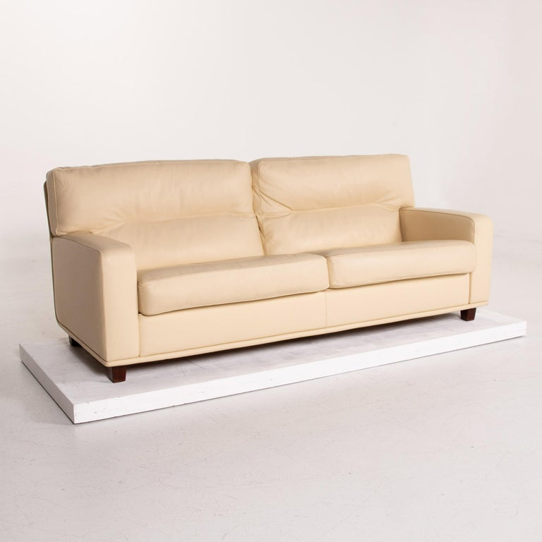 Poltrona Frau Leather Sofa Cream Two-Seat Couch For Sale 3