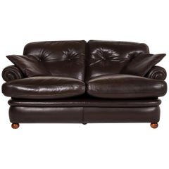 Poltrona Frau Leather Sofa Dark Brown Brown Two-Seat Couch