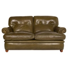 Poltrona Frau Leather Sofa Green Olive Green Two-Seat Couch Retro