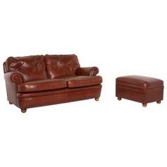 Poltrona Frau Leather Sofa Set Cognac Two-Seat Stool