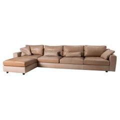 Poltrona Frau Massimosistema Leather Sofa Beige Corner Sofa Couch