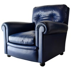 Poltrona Frau Midnight Blue Leather Edoardo Armchair