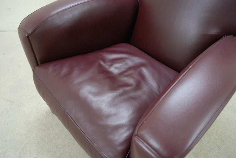 Art Deco Poltrona Frau Model Tabarin Leather Armchair Red Bordeaux For Sale