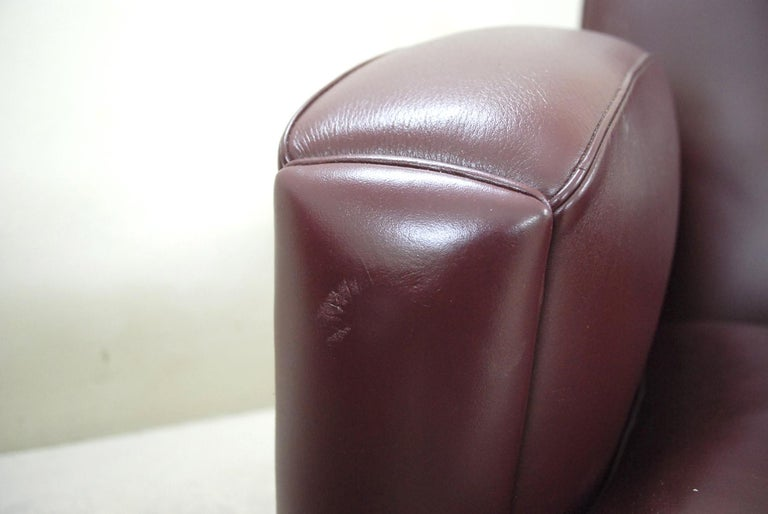 Mid-20th Century Poltrona Frau Model Tabarin Leather Armchair Red Bordeaux For Sale