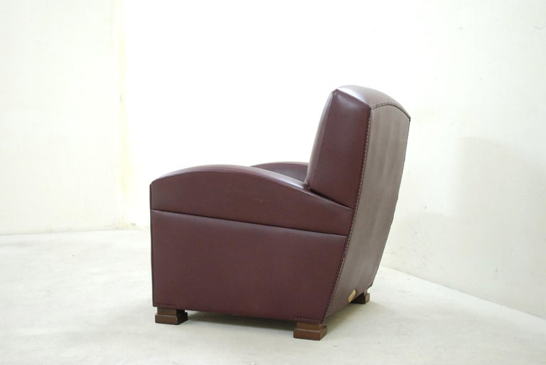 Poltrona Frau Model Tabarin Leather Armchair Red Bordeaux For Sale 3