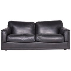Poltrona Frau Socrate Designer Leather Sofa Black Genuine Leather Two-Seat