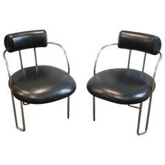 Poltrona Frau Style Chrome & Leather Chairs