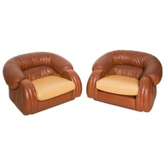 Poltrona Italy Comfy Leather Lounge Chairs in Cognac by Giuseppe Munari  1960s