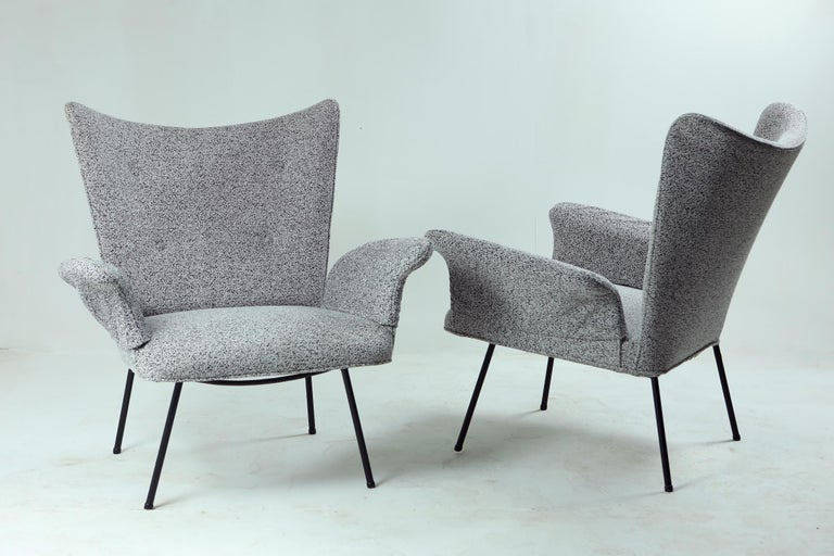 Brazilian Mid-century Modern Armchair by Martin Eisler / Carlo Hauner. Structure in iron and seat covered in fabric
