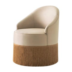 Poltroncina 068 Small Club Chair Upholstered in Satin Fabric by Dimoremilano