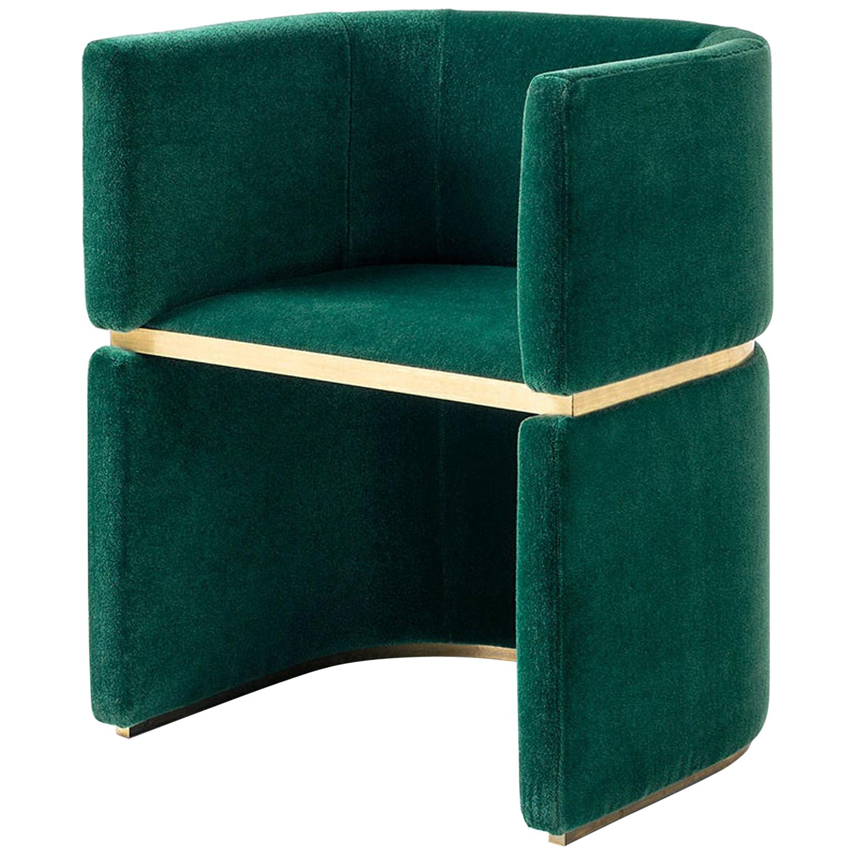 Forest Green Mohair Upholstered Club Chair with Brass Detailing by Dimoremilano