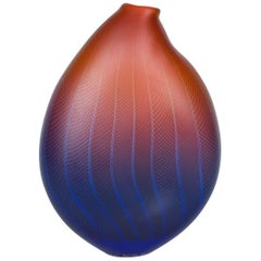 Polychromatic Interleave 005, a unique glass vessel in red & blue by Liam Reeves
