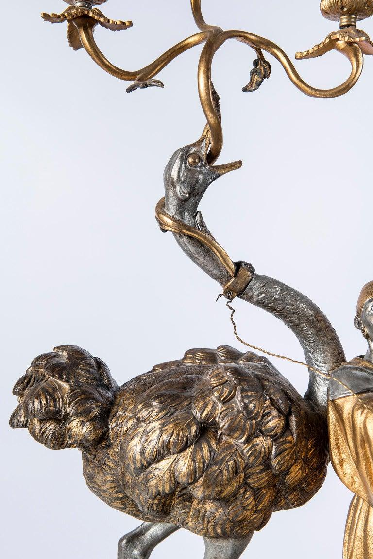 Polychrome Alloy Bronze Garniture, Orientalist Style, 1860 For Sale 4