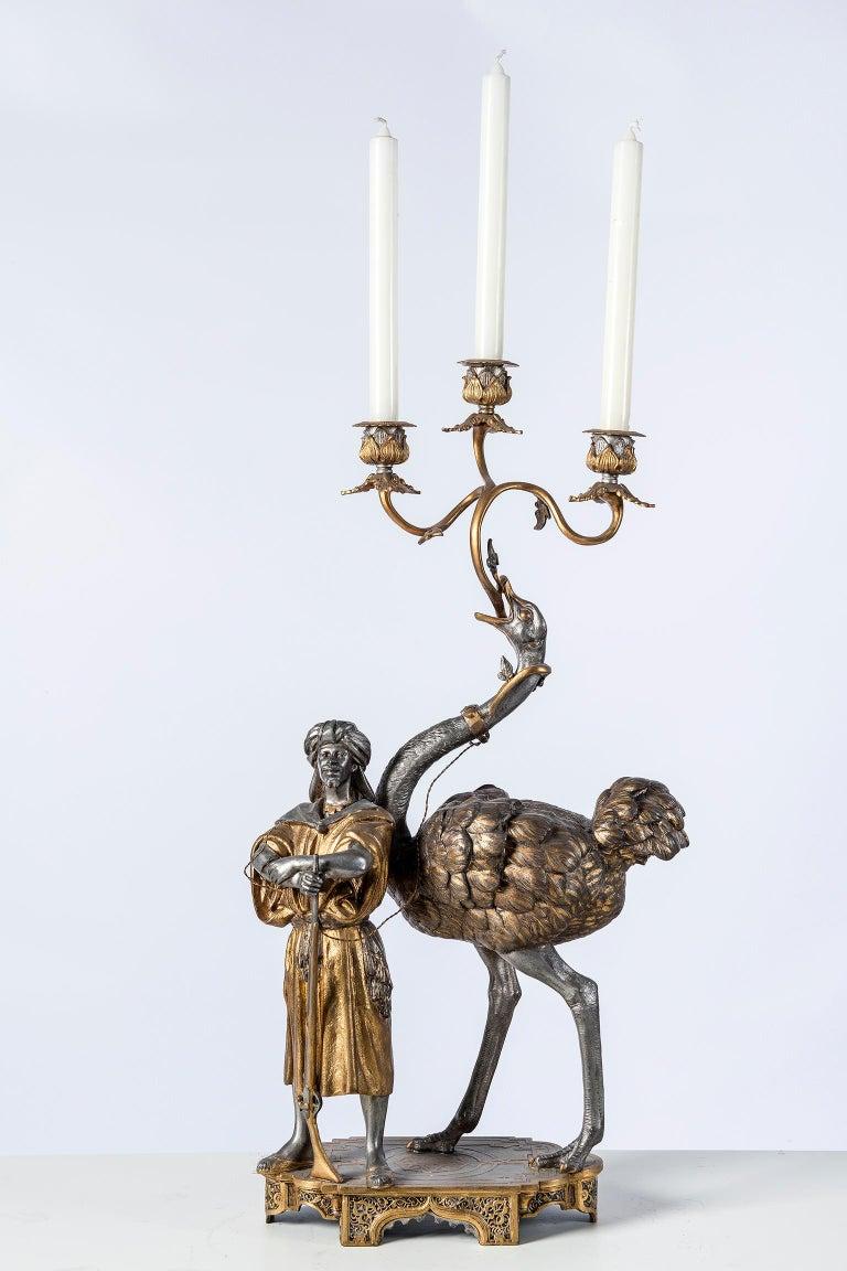 Polychrome Alloy Bronze Garniture, Orientalist Style, 1860 For Sale 5