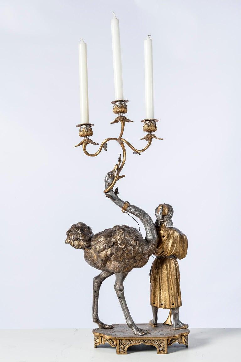 Polychrome Alloy Bronze Garniture, Orientalist Style, 1860 For Sale 6