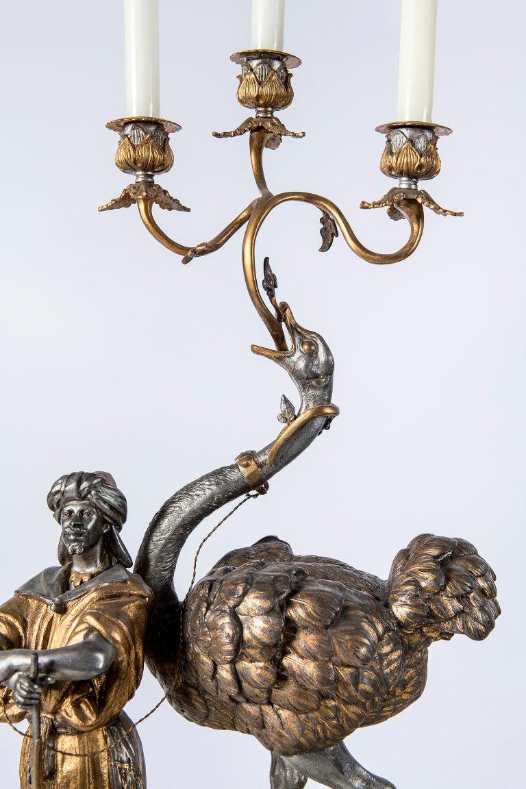 Polychrome Alloy Bronze Garniture, Orientalist Style, 1860 For Sale 8