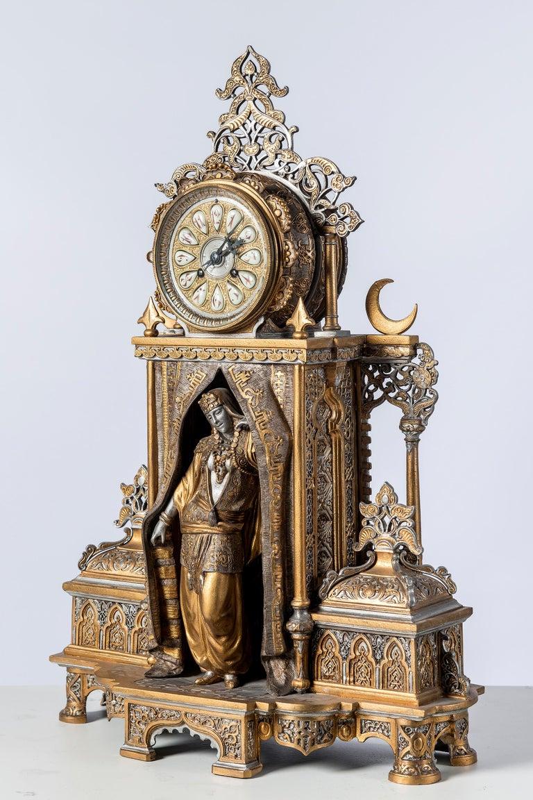 Islamic Polychrome Alloy Bronze Garniture, Orientalist Style, 1860 For Sale