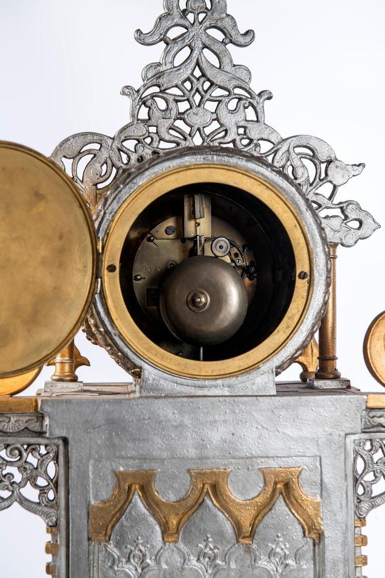 Mid-19th Century Polychrome Alloy Bronze Garniture, Orientalist Style, 1860 For Sale
